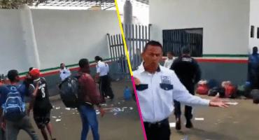 Migrantes protestan en la estación migratoria de Tapachula, Chiapas
