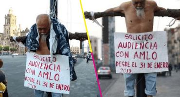 Hombre de la tercera edad se crucificó para pedir audiencia con AMLO