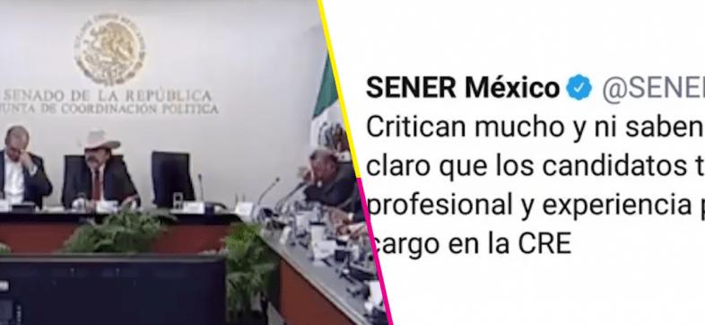 'Critican mucho y ni saben del tema', así el tuitazo de Sener en defensa de los candidatos a la CRE