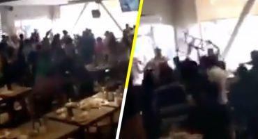 ¡Se dieron hasta con la silla! Se arma pelea campal en un restaurante de Acapulco