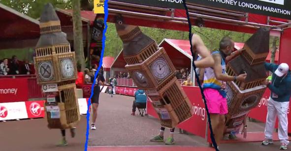 Se disfrazó de Big Ben en el maratón de Londres y no pudo cruzar la meta