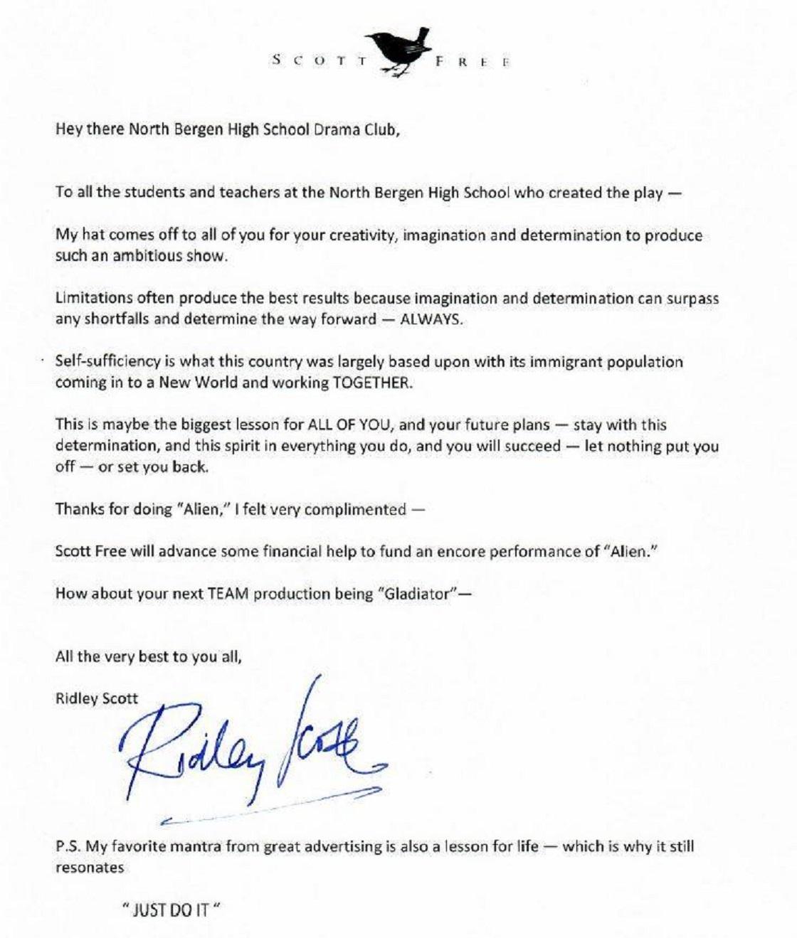 Carta de Rideley Scott para la preparatoria de Nueva Jersey