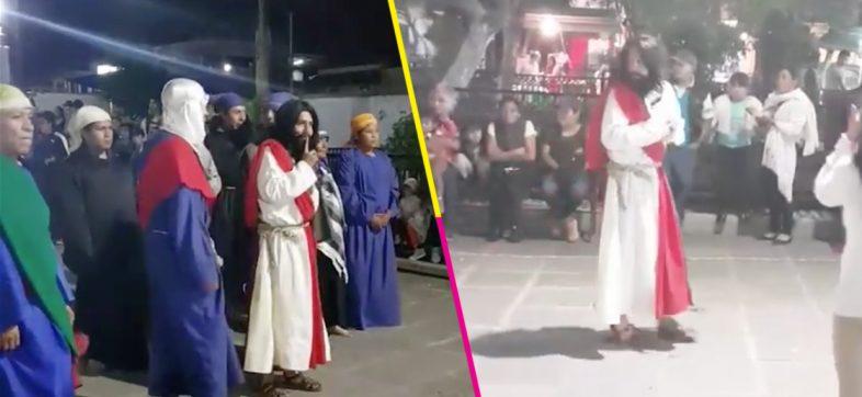 ¡No es broma! Actor interpreta a Cristo en Tlaxcala literalmente 'hasta las chanclas'