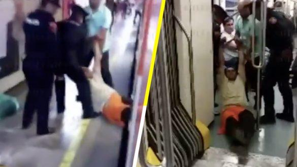 Cero y van dos: Hombre convulsiona en el metro y policías lo sacan a rastras del vagón