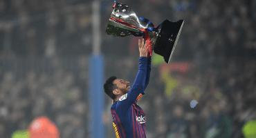 El momento en el que Messi levantó su primer título de liga como capitán del Barcelona