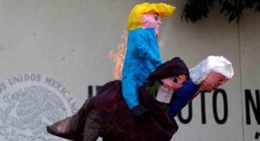 No pierdas el tino: En Chiapas, manifestantes queman piñata de Donald Trump 😱