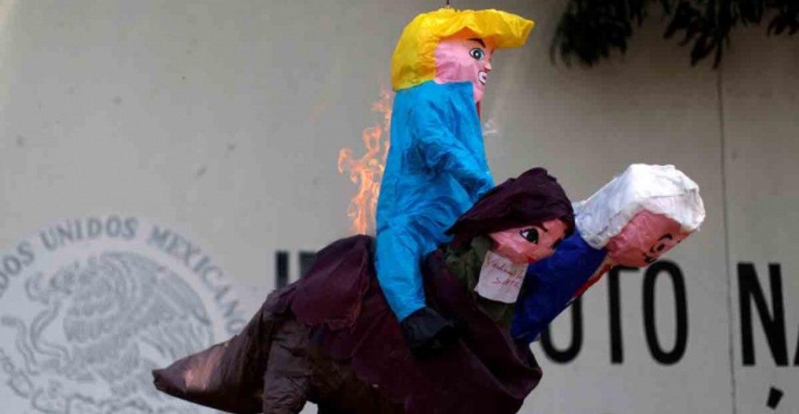 No pierdas el tino: En Chiapas, manifestantes queman piñata de Donald Trump