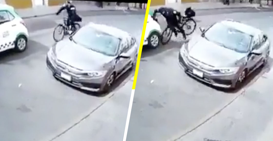 Ándele: Por ir viendo a una mujer, policía estampa su bicicleta contra un coche