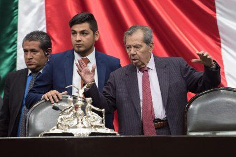 CIUDAD DE MÉXICO, 04MARZO2019.- Porfirio Muñoz Ledo, presidente de la Mesa Directiva, durante la Sesión Ordinaria de la LXIV Legislatura de la Cámara de Diputados, en la que se avaló por unanimidad las reformas a los artículos 150 y 151 de la Ley de Desarrollo Rural Sustentable