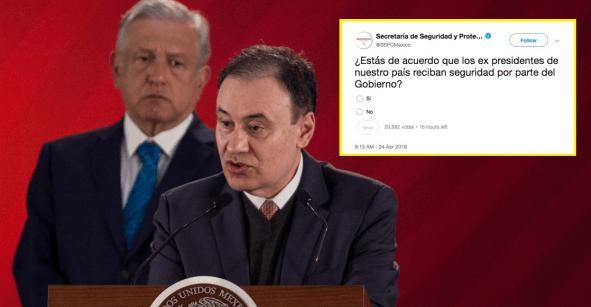 ¿Por Twitter? Secretaría de Seguridad lanza encuesta sobre protección a expresidentes
