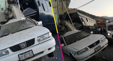En Edomex, camión de la Secretaría de Seguridad choca y 2 personas pierden la vida