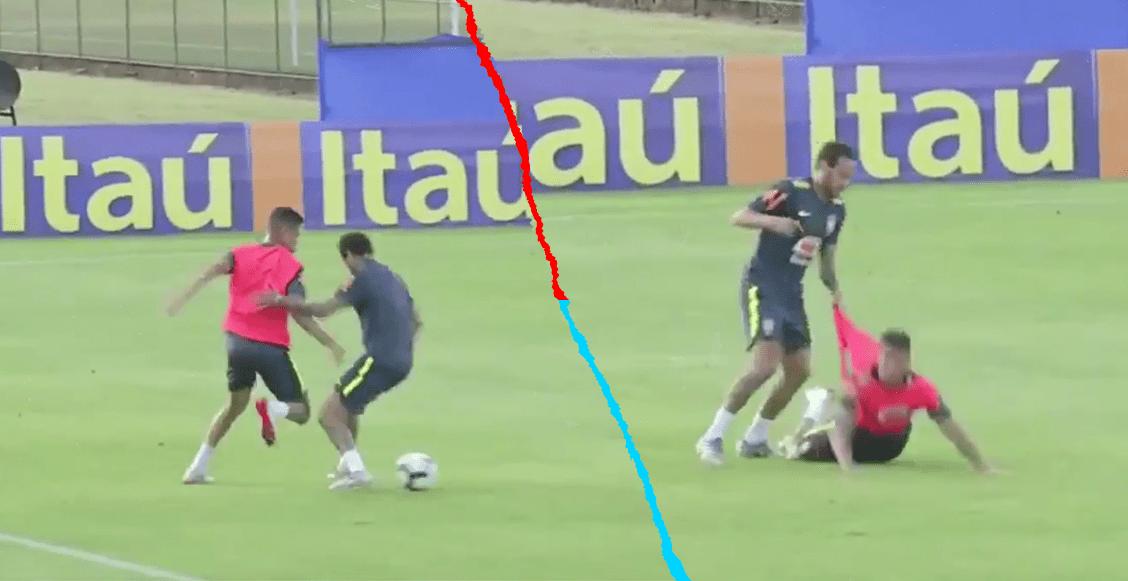 Juvenil de Brasil le hizo un 'túnel' a Neymar y así reaccionó