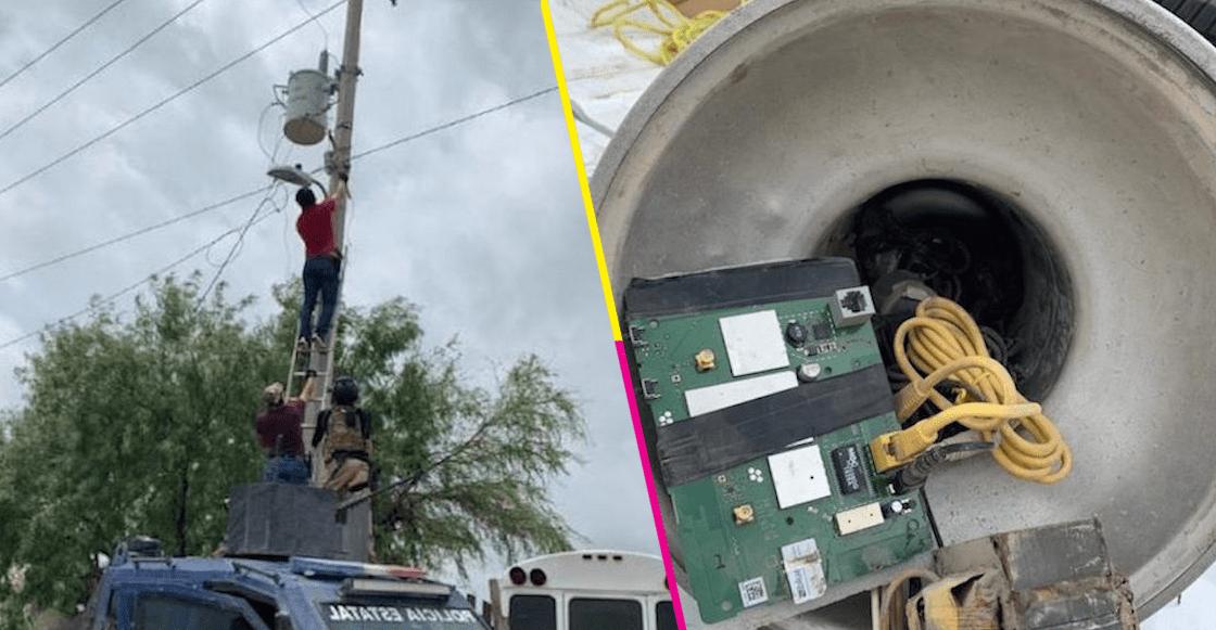 Y en Reynosa, hallan 18 narcocámaras en el alumbrado público