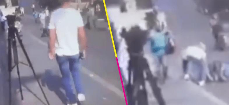Qué poca... Captan a sujeto robando a una víctima en balacera de Cuernavaca