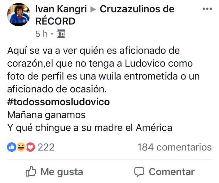 Desesperación nivel: Aficionados de Cruz Azul usan a Ludovico Peluche como cábala ante América