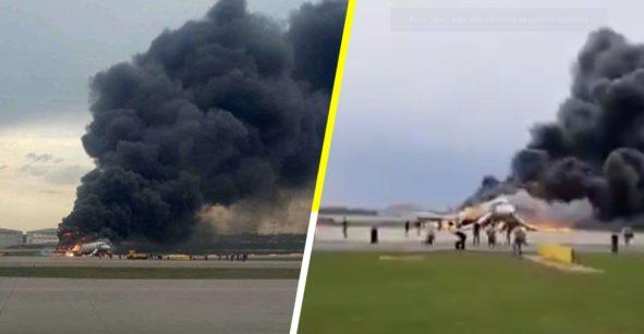 Avión de pasajeros se incendia y hace aterrizaje de emergencia en Moscú; hay al menos 13 muertos