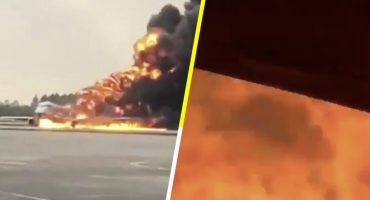 Video: Así se vio el incendio dentro del avión de Moscú que dejó al menos 41 muertos