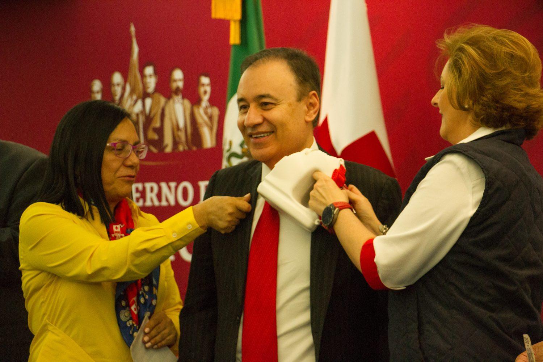 CIUDAD DE MÉXICO, 21MARZO2019.- Patricia Bugarin Gutiérrez, Subsecretaria de Seguridad; Alfonso Durazo Montaño, Secretario de Seguridad y Carmen Lebrija de Suiniga, Presidenta Nacional de Damas Voluntarias de la Cruz Roja Mexicana, durante la ceremonia del arranque de la Colecta nacional para la Cruz Roja Mexicana.