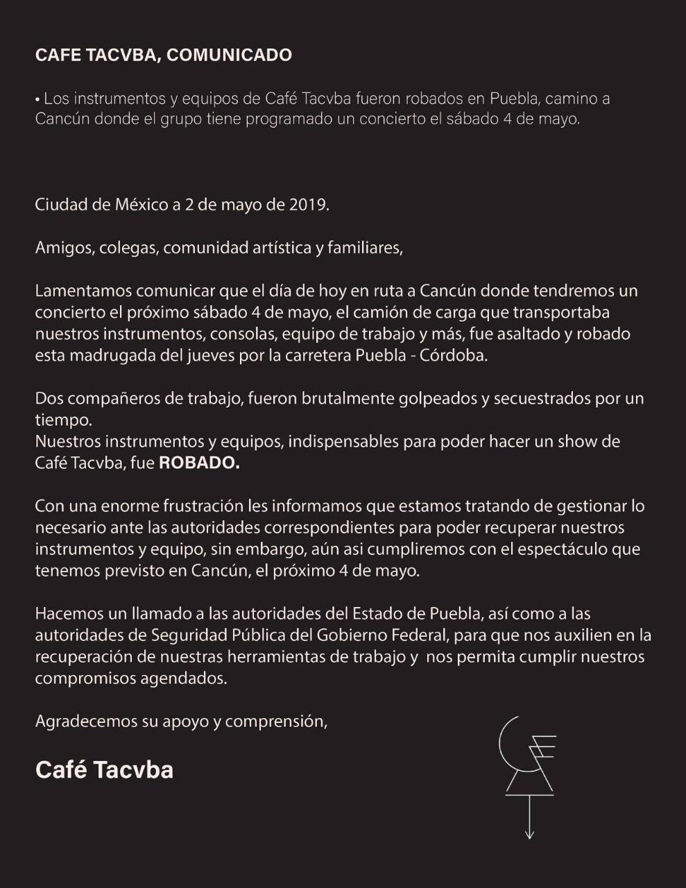 Ya ni la amuelan: Café Tacvba reporta que su equipo fue robado en Puebla