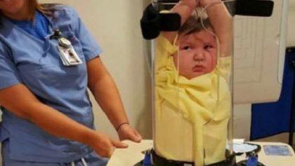 Este dispositivo inmoviliza niños durante los rayos X