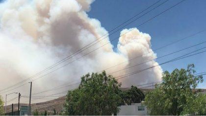 Viento reaviva incendio forestal en la Sierra de San Miguelito, SLP