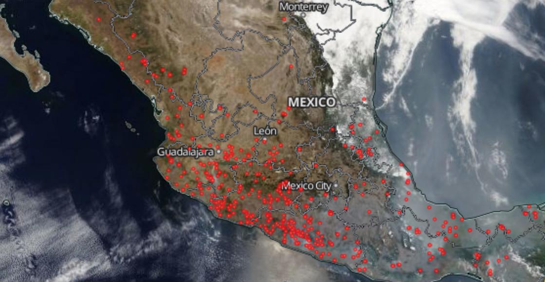 ¡Wow! Así se ven los incendios forestales en México desde el espacio