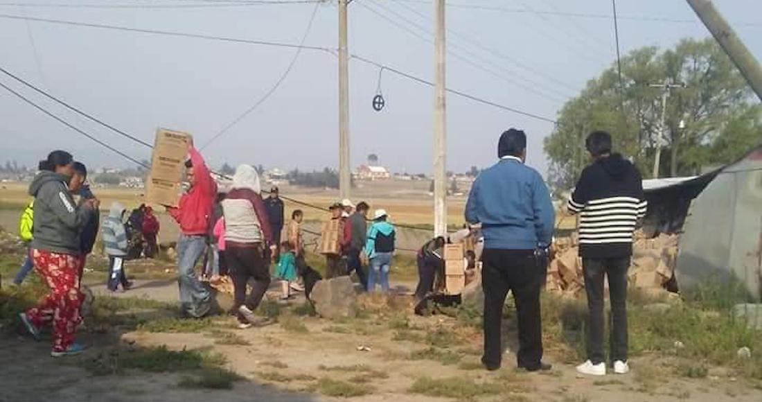 habitantes de ixtlahuaca ayudan a evitar rapiña a repartidor de Gamesa