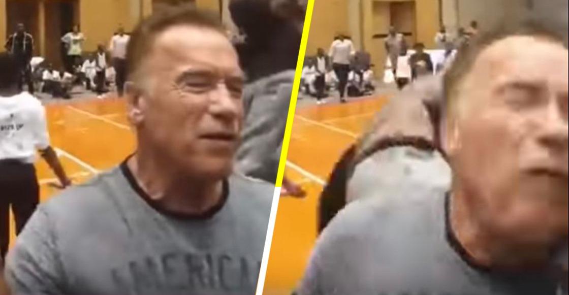 Patada a Arnold Schwarzenegger en Sudáfrica