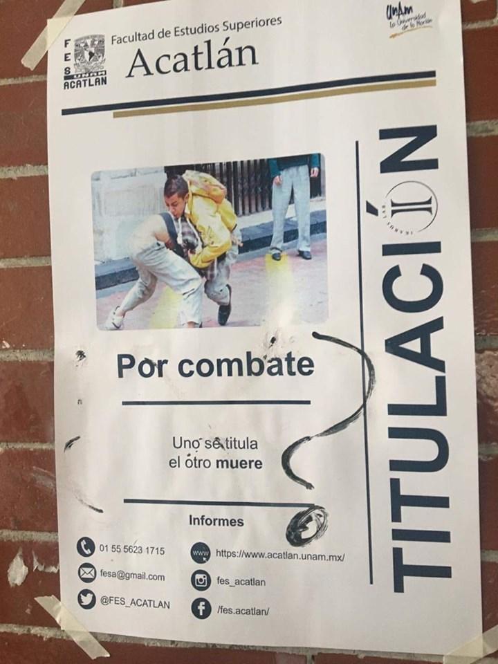 anuncio titulación por combate en la FES acatlán