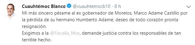 Mensaje Cuauhtémoc Blanco, gobernador de Morelos