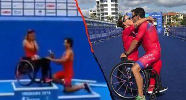 ¡De la meta al altar! La romántica 'pedida de mano' a triatleta paralímpica en plena competencia