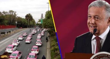 'Están abiertas las puertas del diálogo': AMLO a taxistas en plena manifestación