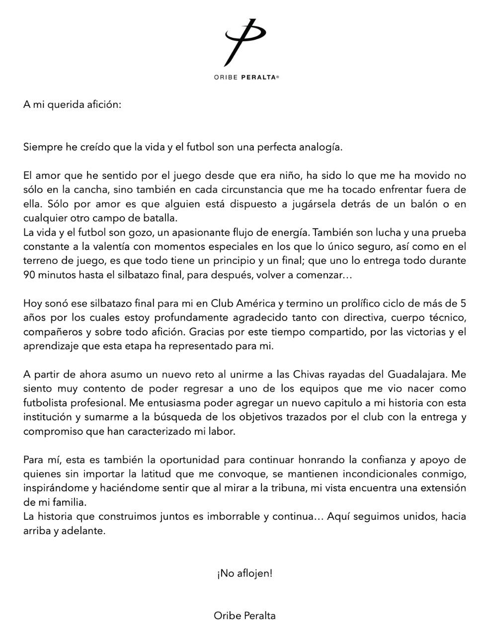Se vale llorar: La carta de Oribe Peralta a la afición del América
