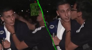 Un aficionado besó al 'Chaco' Giménez en plena transmisión