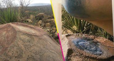 De tu arte a mi arte... Artista orina un petrograbado para una serie de fotografías en Coahuila