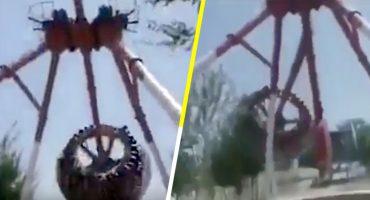 Captan en video el momento exacto en el que un juego mecánico se parte en dos 