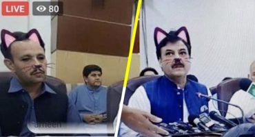 Ministro transmite en Facebook Live y olvida quitar el filtro de gato 