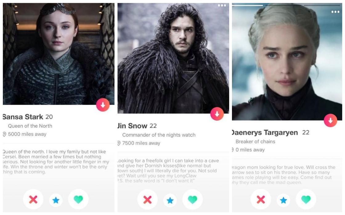 Perfiles de Tinder con personajes de Game of Thrones