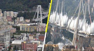 Así se vio la impresionante demolición del Puente Morandi en Génova 🌉