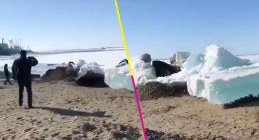 El verano llegó a Rusia y trajo un impresionante tsunami de hielo