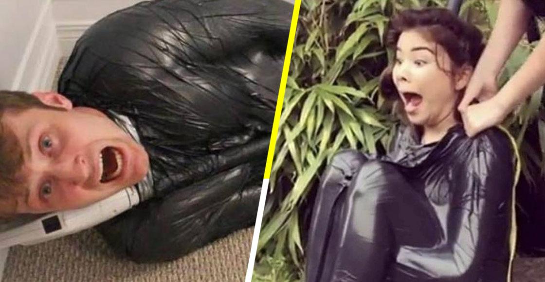 Y porque nadie lo pidió: Llega el 'Vacuum Challenge', que involucra aspiradoras y bolsas para basura