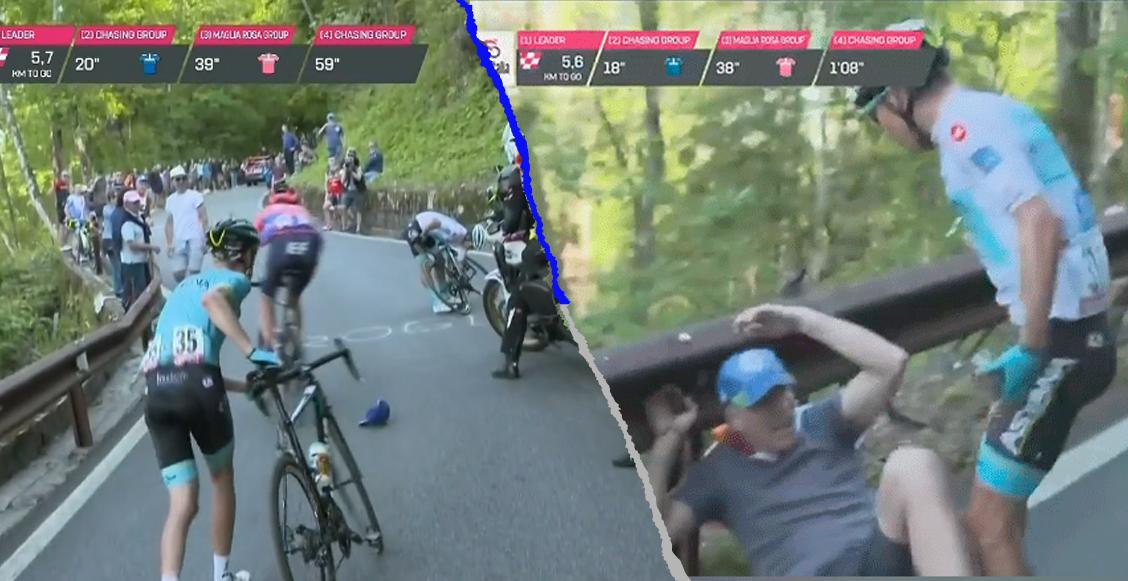 Ciclista golpeó a aficionado que lo tiró de la bici en el Giro de Italia