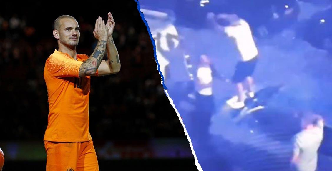 Detuvieron a Wesley Sneijder por bailar borracho sobre un auto en Holanda