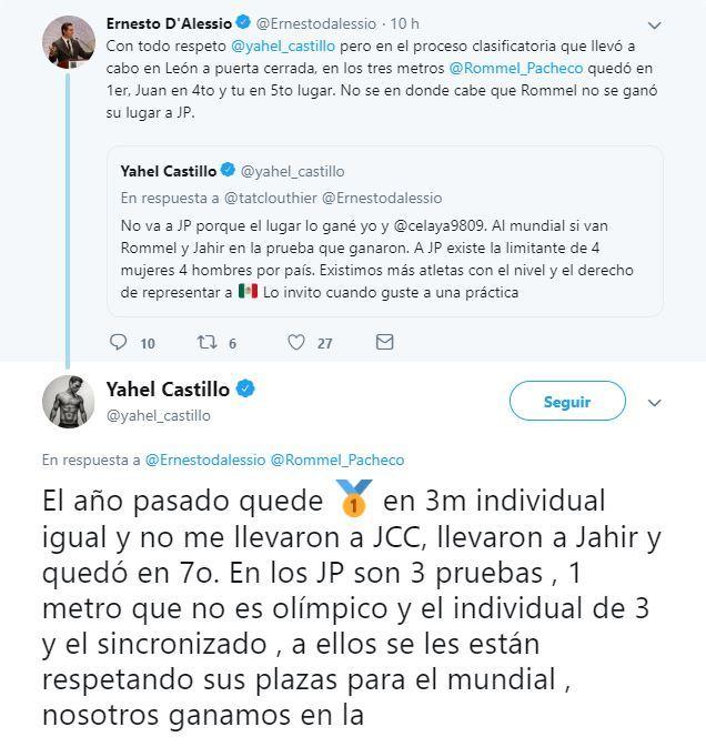 Yahel Castillo se agarró a 'tuitazos' con Ernesto D'Alessio por convocados a Juegos Panamericanos