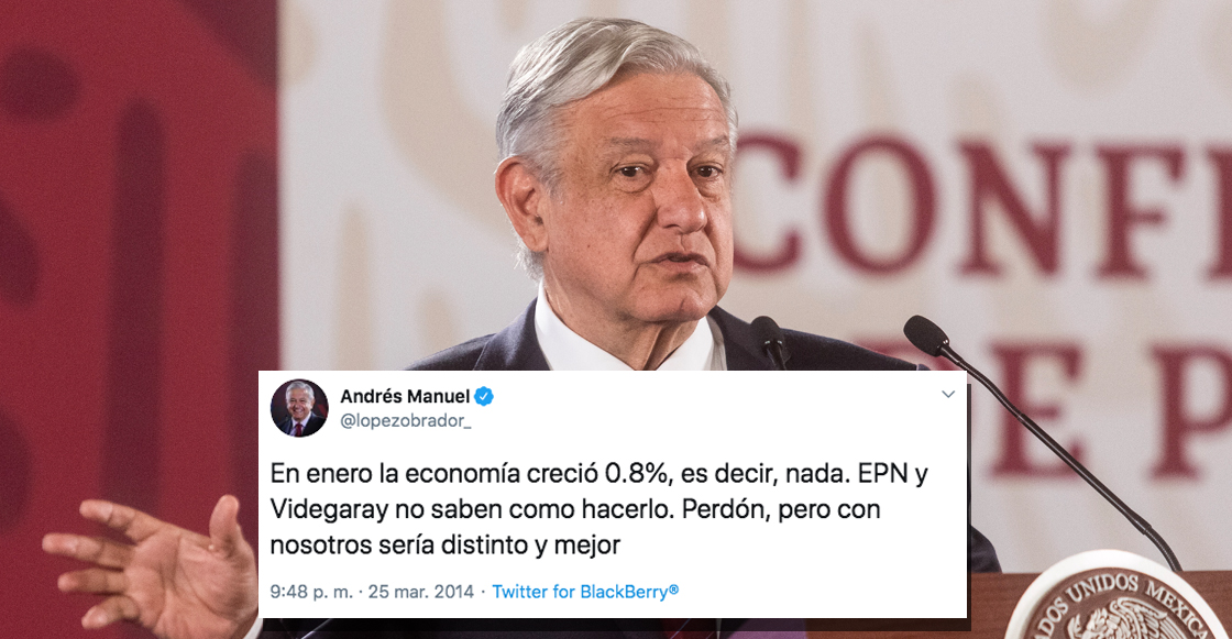 AMLO se quejaba de que la economía crecía 0.8% en 2014... hoy celebra un 0.1%