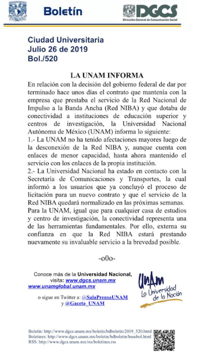 Comunicado-UNAM-internet-servicio