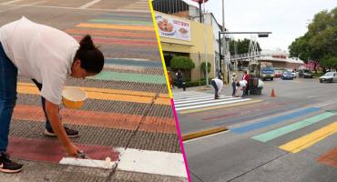 Y en Puebla, grupo provida repinta de blanco el paso peatonal que tenía los colores LGBTI