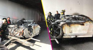 ¡Ouch! Se incendió un Audi en el bajo puente de Circuito Interior; no hay lesionados