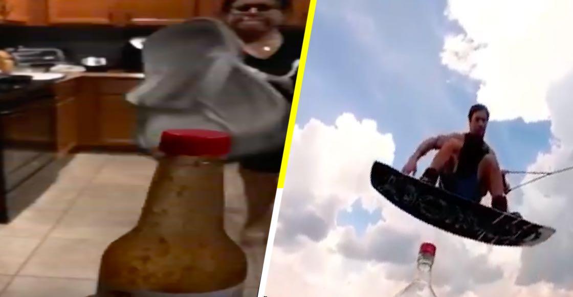 Desde mamá con chancla hasta tabla de surf: los mejores y peores #BottleCapChallenge