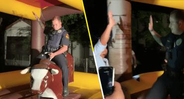 Alto ahí: Este policía iba a calmar una fiesta pero prefirió convertirse en el alma de la fiesta